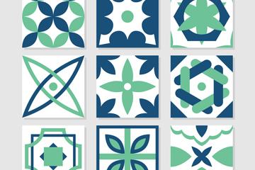 9款绿色花纹方砖矢量素材