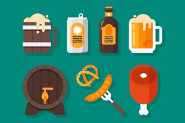 8款创意慕尼黑啤酒节图标矢量图