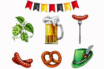 7款彩绘慕尼黑啤酒节图标矢量图