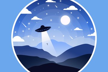创意郊外外星飞碟矢量素材