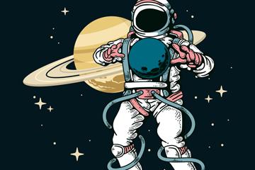 彩绘宇航员和土星矢量素材