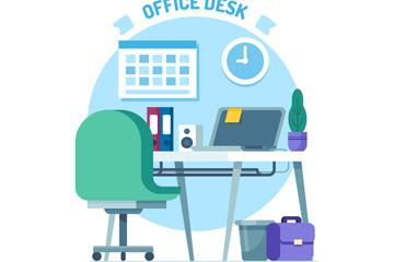 蓝色私人办公桌设计矢量图