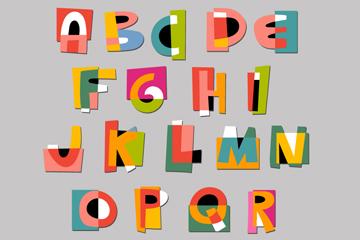 26个彩色纸质字母矢量素材