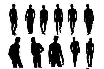 16款创意男子剪影矢量素材