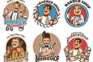 6款卡通理发师标签矢量素材