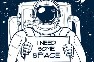 手绘举纸板的宇航员矢量素材