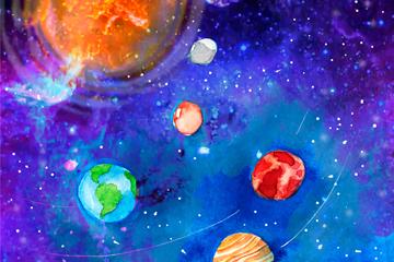 彩绘太阳系风景矢量素材