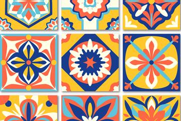 9款彩色花纹方砖设计矢量图