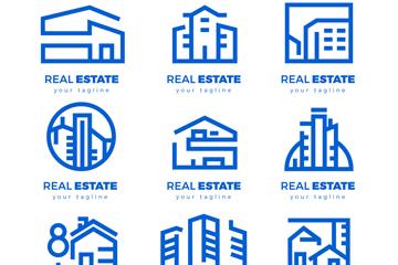 9款抽象蓝色房地产标志矢量图