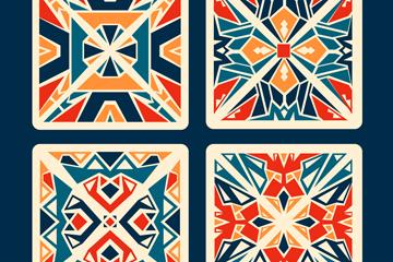 4款彩色花纹方砖矢量素材