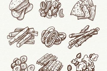 9组手绘零食设计矢量素材