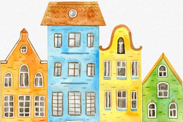 彩绘并排4个楼房矢量素材