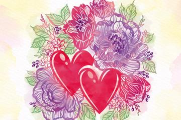 彩绘求婚话语爱心和花卉矢量素材