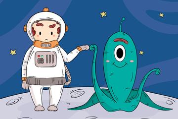 可爱宇航员和外星人矢量素材