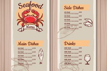 彩绘海鲜菜单设计矢量素材