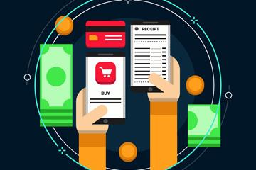 创意手机和账单矢量素材