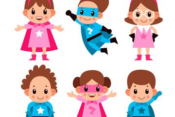 6款可爱超级英雄儿童矢量素材