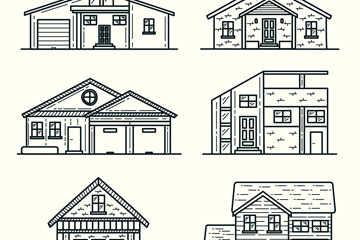 6款整洁房屋设计矢量素材