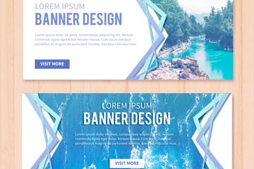 2款蓝色自然风景banner矢量素材