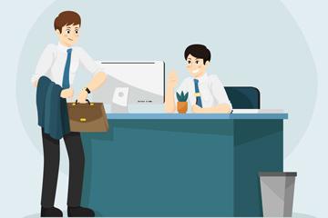 创意办公室打招呼的2个商务男子