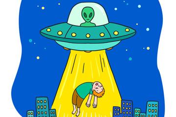 彩色被外星人绑走的男子矢量图