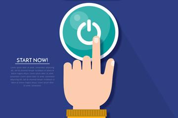 创意按开始按钮的手臂矢量图