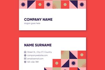 彩色方格商务名片设计矢量素材