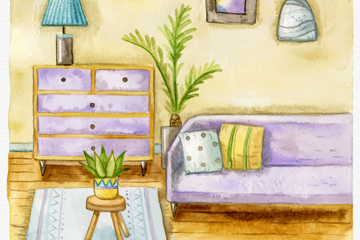 彩绘温馨客厅设计矢量素材