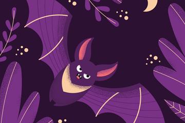 紫色夜晚飞行蝙蝠矢量素材