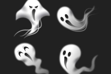 4款动感幽灵设计矢量图