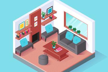 立体客厅设计矢量素材