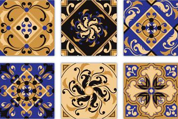 9款复古花纹方砖设计矢量素材