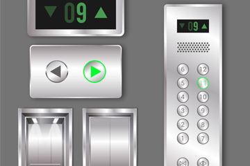 精美银色电梯面板设计矢量素材