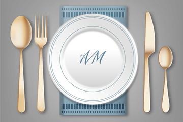 白色餐盘和金色餐具矢量图
