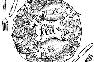 创意海鲜菜肴设计矢量素材