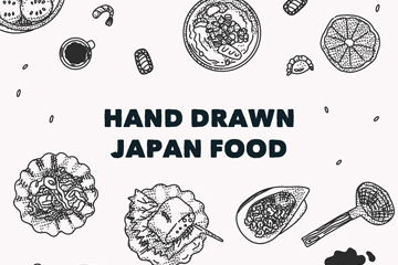 手绘日本食物矢量素材