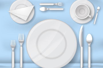 白色餐具俯视图矢量素材
