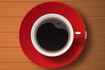 美味咖啡俯视图设计矢量素材