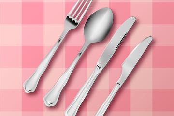 创意餐桌上的餐叉餐勺餐刀矢量素材
