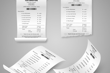 4款白色纸质收据设计矢量图