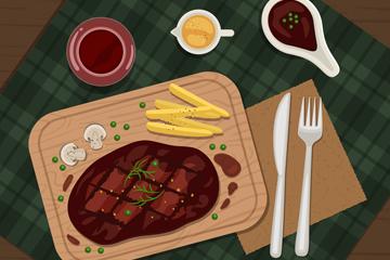 美味牛排菜肴俯视图矢量素材