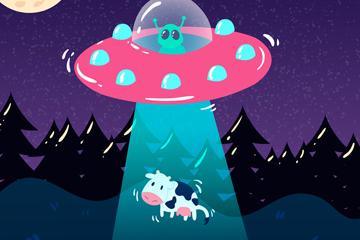 卡通绑架奶牛的外星飞碟矢量图