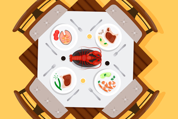 ��意�[�M菜肴的餐桌矢量素材