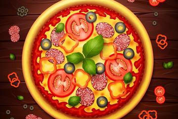 创意美味披萨设计矢量素材