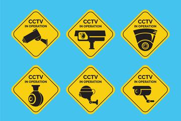 6款黄色监控警示贴矢量素材