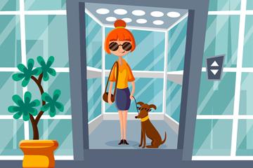 创意乘坐电梯的女子和宠物狗矢量