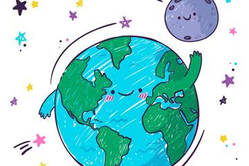 彩绘打招呼的地球和月球矢量图