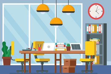 创意办公室内部设计矢量素材