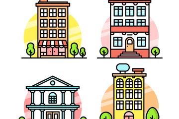 4款彩色楼房设计矢量素材