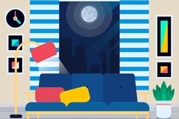 彩色夜晚客厅设计矢量素材